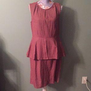 Mata Traders Red Large Peplum Sleeveless Dress